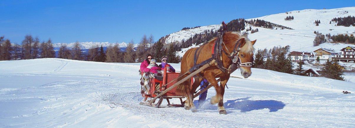 Met de paardenkoets door de sneeuw in Zuid Tirol Dolomieten
